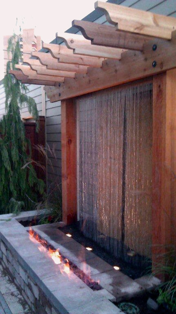 Unique Fire and water feature Contemporary Outdoor