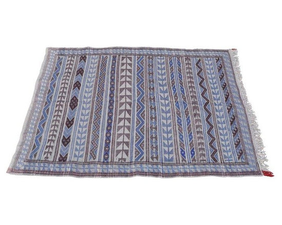 "Pre-owned Moroccan Flatweave Violet & Blue Rug - 4'10"" x 7' - This fun flat weave purple, blue, and grey area rug is a great addition to any room or walkway (where you don't want a high pile tripping hazard). It is originally  from the Beni Ourain tribe of the  Riff Mountains in Morocco."