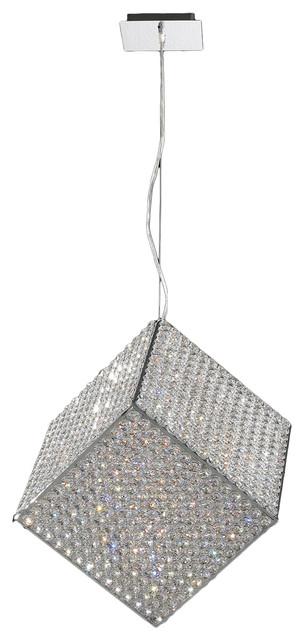 "Cube 13 Light Chrome Finish Crystal 18"" Pendant Light Medium modern-pendant-lighting"