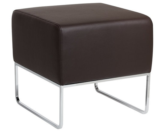 """Zuo - Zuo Plush Espresso Leatherette Ottoman - The Plush ottoman offers sleek simple design. This functional piece will also add a splash of style in any application. The cushion features espresso leatherette covering. The frame is solid steel with a brilliant chrome finish. Design by Zuo Modern. 18 1/2"""" wide. 18 1/2"""" high. 18"""" deep.  Solid steel construction.  Chrome finish.  Espresso leatherette.  18 1/2"""" wide.  18 1/2"""" high.  18"""" deep."""