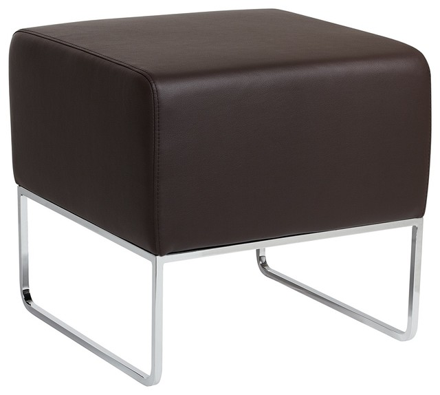 Zuo Plush Espresso Leatherette Ottoman modern-footstools-and-ottomans
