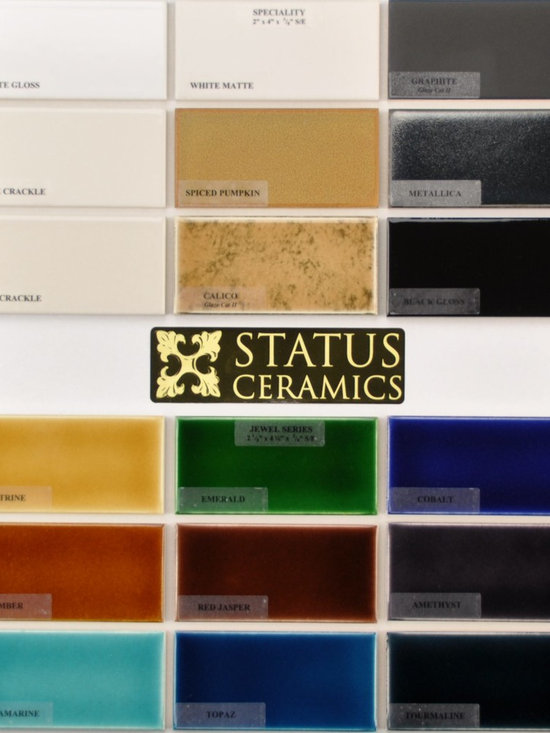 glaze colors - Status 2x4 Specialty and Jewel glaze color palettes.  Field tile come in 2x2,2x4,2x6,2x8,3x6,6x6,4x4,4x8,8x8