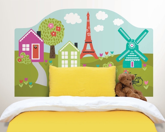 Headboards - A darling bedroom décor idea, this easy peel and stick headboard decal creates an instant designer look in minutes.