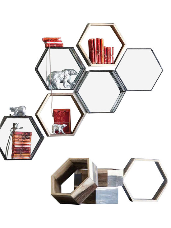 Eco Honeycomb Shelf - Our hexagonal Eco Honeycomb Shelf is made from repurposed furniture production remnants. We use a blend of woods – teak, oak and mindi – to create a distinctive combination for each piece. The Eco Honeycomb Shelf is designed to be wall mounted with two simple screws, but works well as a contemporary accent on bookshelves and tabletops around the home. Sold individually.