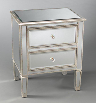Two Drawer Mirrored Bedside Table eclectic nightstands and bedside tables