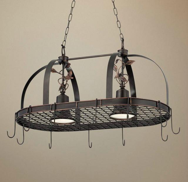 2 Light Bronze Finish Hanging Pot Rack Chandelier ...