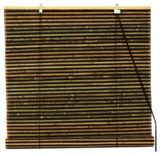Burnt Bamboo Roll Up Blinds In Natural Brow