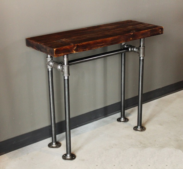 Rustic industrial wood pipe console table rustic console for Rustic pipe table