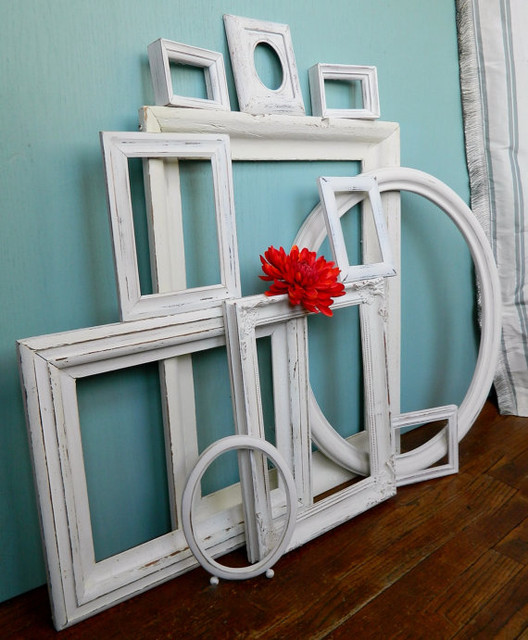 Instant Collection Of 11 Chippy White Vintage Picture Frames By Ela Lake Design traditional-picture-frames