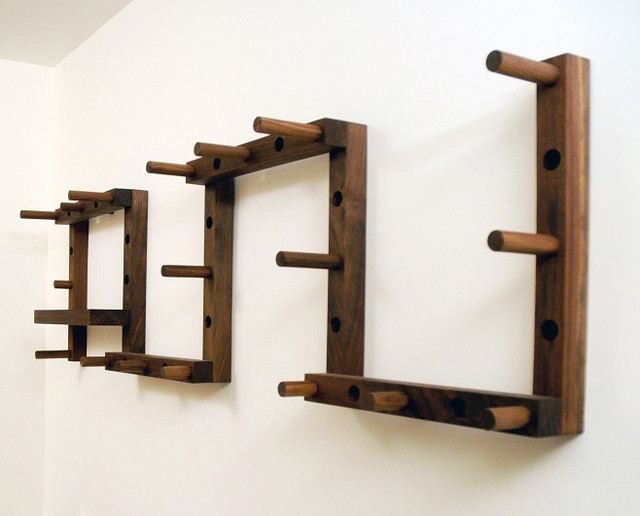 Thru block coat rack modern hooks hangers by canoe for Contemporary coat hooks