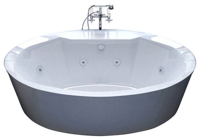 Venzi sole 34 x 68 oval freestanding whirlpool jetted for Oval tub sizes
