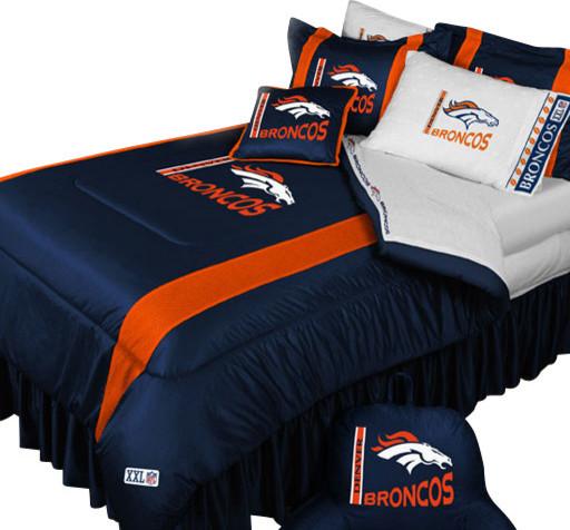 Nfl denver broncos football queen full bed comforter set for Denver broncos bedroom ideas