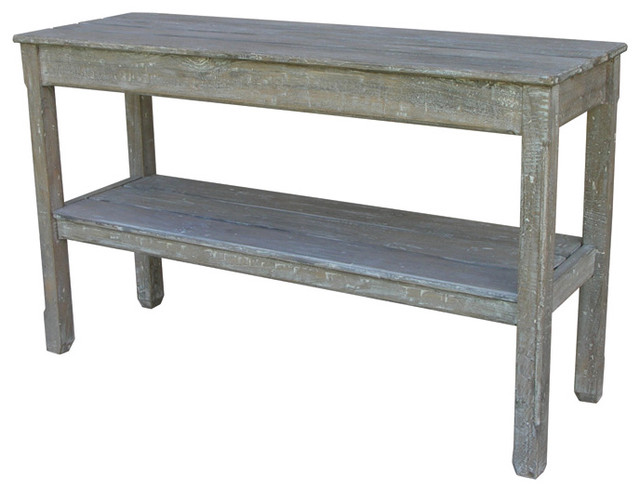 Trade Winds Furniture River Wash White Cottage Plank Console Table Contemporary Coffee