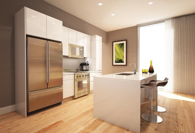 White lacquer cabinets  Modern  Kitchen Cabinetry  new york  by
