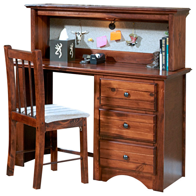 chelsea home 3 drawer student desk with hutch in cocoa traditional kids desks and desk sets. Black Bedroom Furniture Sets. Home Design Ideas