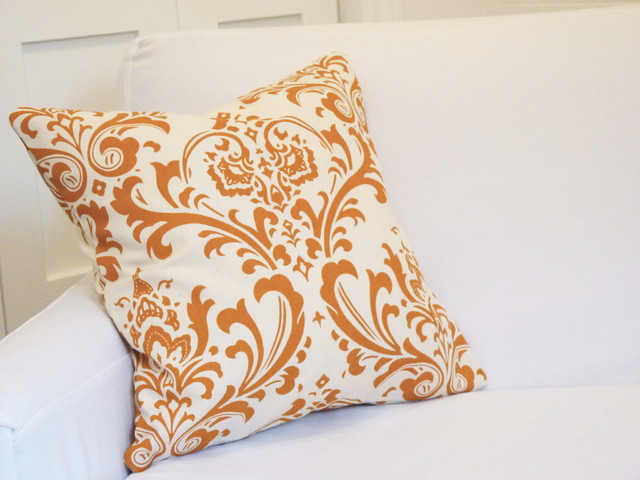"7""x17"" Damask Throw Pillow Cover - Tangerine eclectic-decorative-pillows"