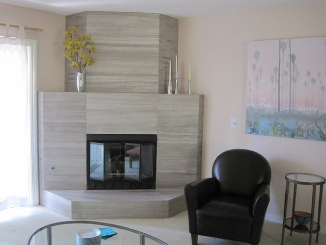 Fireplace Renovation Contemporary Living Room San Diego