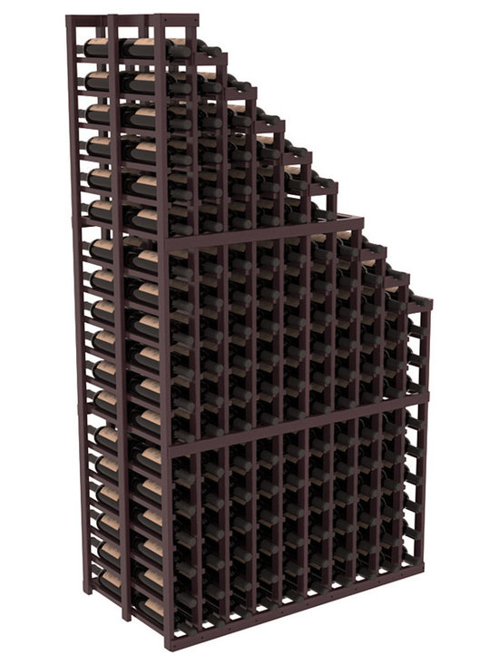 Double Deep Wine Cellar Waterfall Display Kit in Redwood with Burgundy Stain + S - The same beautiful cascading waterfall but in a double deep capacity. Displays 18 choice vintages in a tiered fashion. Designed within our modular specifications and to Wine Racks America's superior product standards, you'll be satisfied. We guarantee it.