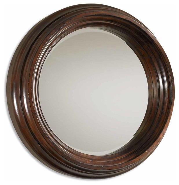 Cristiano round dark wood mirror traditional wall for Round wood mirror