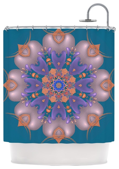 Michael Sussna Whisker Lily Orange Teal Shower Curtain Contempo
