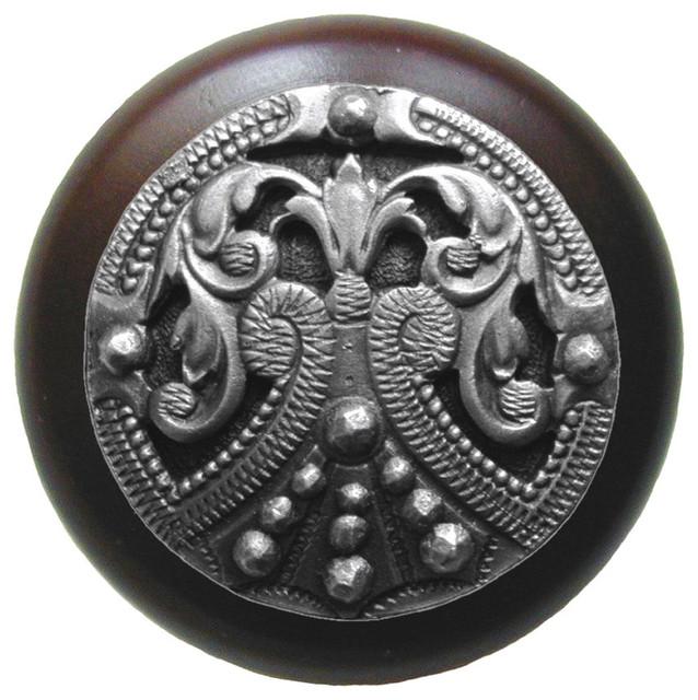 Notting Hill Regal Crest/Dark Walnut Wood Knob - Antique Pewter modern-cabinet-and-drawer-knobs