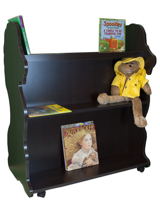 Mobile Baby Bookcase - Mobile Double Sided Bookcase Lion Espresso Wenge: This adorable mobile child's bookcase is perfect for to store all your child's favorite books and toys for years to come. The sylish design and wheels on the bottom make the  bookcase chic yet functional enough for any trendy home.