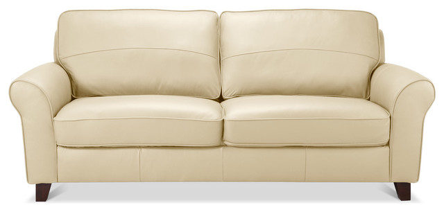 Byron 3 Seat Couch Beige Leather Contemporary Sofas