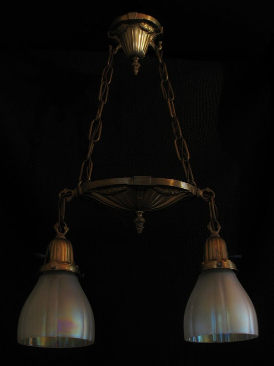 "Petite ""Shower"" fixture with opalescent glass shades - Brass double pendant with garland motif and iridescent shades, circa 1915. Completely restored and rewired, ready for installation."