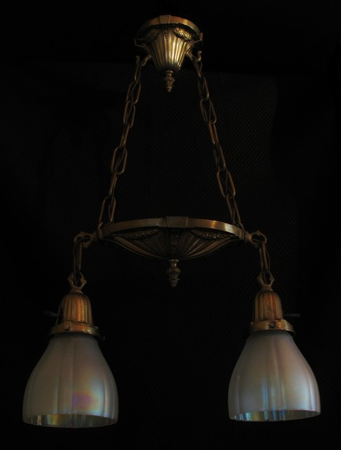 """Petite """"Shower"""" fixture with opalescent glass shades traditional-pendant-lighting"""