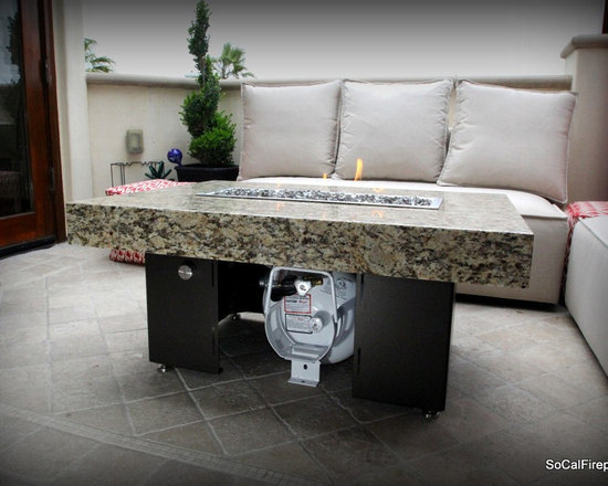 COOKE - Santa Barbara Rectangular Fire Pit Table - Black Pearl Top, Black Base - We know it is hard to find that big bold look at a small price point and still have a quality product so we took styling from our designer collection and brought it to our So Cal line so we could offer just that!