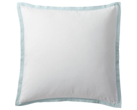 """Serena & Lily - Aqua Border Frame Euro Sham - A clean, simple design for those who crave a quieter bed. Tailored from crisp white 300-thread-count 100% cotton sateen; finished with a 1"""" flange in aqua."""