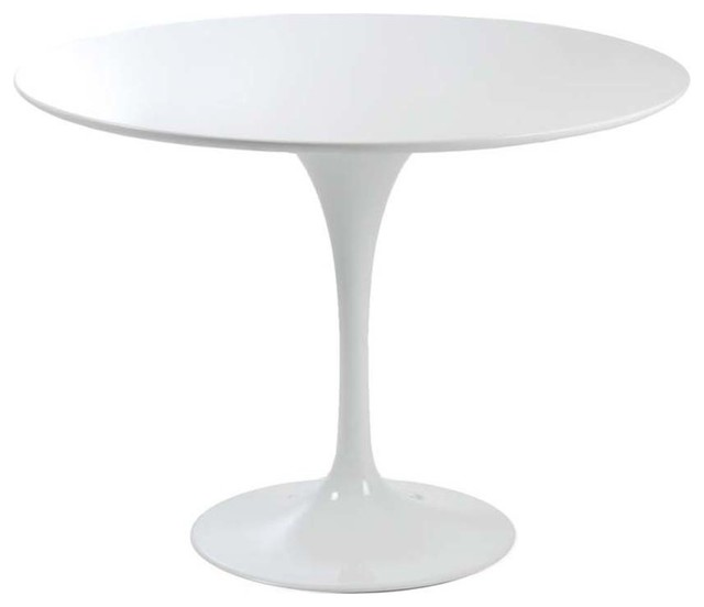 Astrid Round Pedestal Dining Table In White Modern Dining Tables