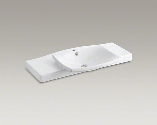 KOHLER White Escale® Pedestal or Vanity Top Bathroom Sink - The Escale collection draws its inspiration from Japanese ceramic tableware and a sail billowing in the wind. The round-in-square shape basin beautifully rests on an integrated vanity top that offers extra surface space.
