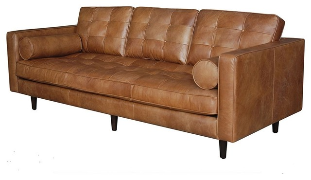 Maxwell modern leather sofa midcentury sofas by zin home for Mid century modern leather sofa