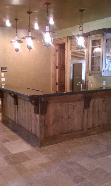 Miners bar rustic basement cleveland by man caves audio video - Rustic basement bar designs ...