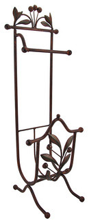 Metal Olive Branch Motif Free Standing Toilet Paper Holder traditional-toilet-paper-holders