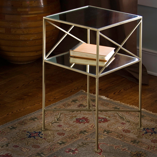 Brass-plated Iron And Glass Square Side Table