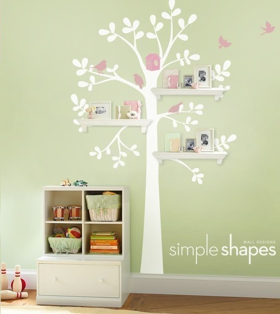 Shelving Tree Decal with Birdsby Simple Shapes contemporary nursery decor