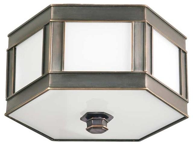 Hudson Valley Nassau I-1 Light Flush Mount in Old Bronze transitional-ceiling-lighting