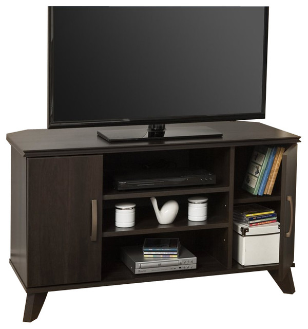 South Shore Caraco Corner TV Stand in Mocha modern-media-storage