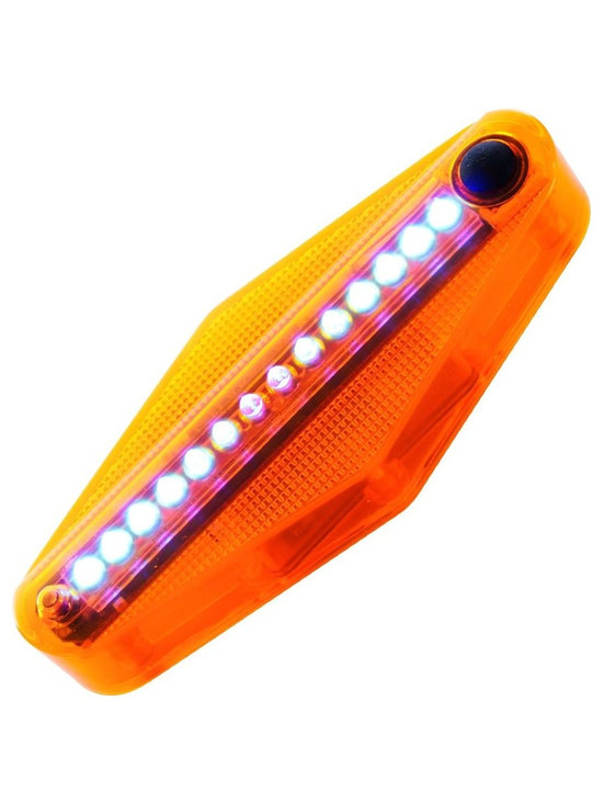 Trademark Global - TGT Bike Spoke Message Light w 14 LED - Fits on bikes with a wheel diameter of 20 in. or greater. Waterproof. Orange ABS plastic construction. ON button. Installs on the either side of front or back wheel. Display sequence: message, patterns, time of riding, number of rounds and patterns. Patterns change every three seconds. Forty design patterns. Five words patterns: HELLO, I LOVE YOU, PEACE, GOGO and BIKE. Light enters sleep mode one minute after wheel stops. LED lights keep blinking for tow minutes after. Shuts off automatically to save power approximately three minutes after wheel has stopped. Sensor unit mounts on bike forks. Made from plastic and wood. No assembly required. Sensor: 2 in. L x 1 in. W x 1 in. H. Light: 5.25 in. L x 1 in. W x 2 in. H (1 lbs.)