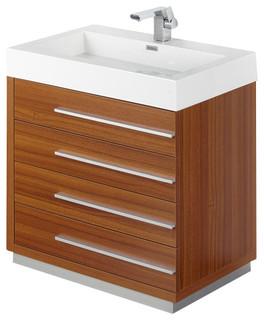 "Fresca Livello Bathroom Vanity w/ Faucet & Medicine Cabinet, Teak, 30"" - Modern - Bathroom ..."