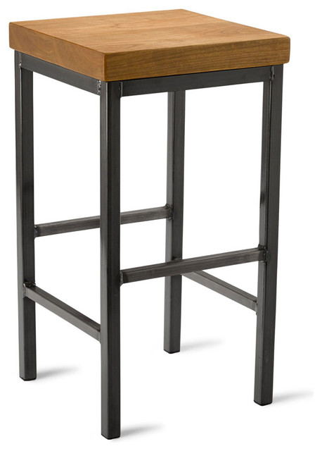 Square Metal Stool Cherry 25 Quot H Industrial Bar Stools
