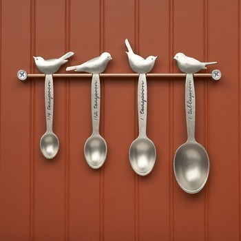 Bird Measuring Spoons, Hand-Cast Pewter by Beehive Kitchenware contemporary-measuring-cups-and-spoons