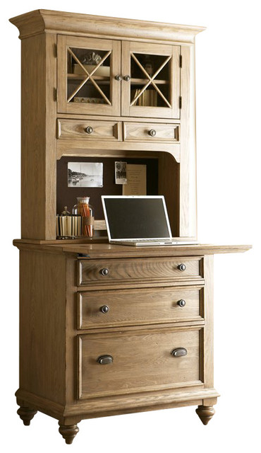 Riverside Furniture Coventry Workstation in Driftwood transitional-home-office-accessories