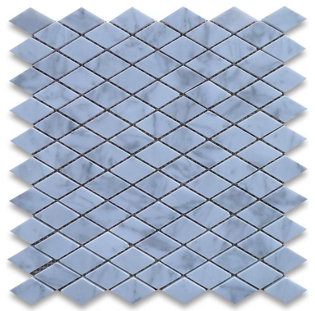Carrara Marble Rhomboid Diamond Mosaic Tile 1 x 1 7/8 Polished traditional-wall-and-floor-tile