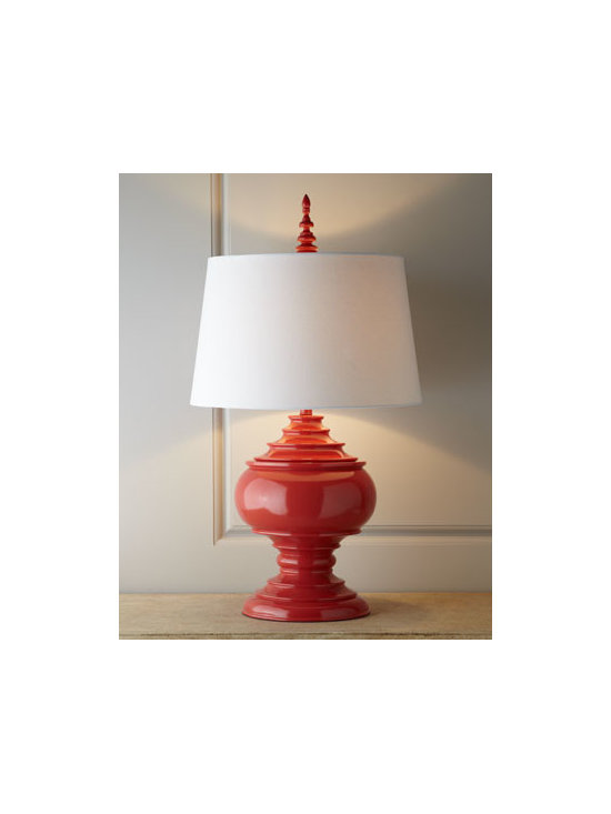 "Horchow - Red ""Burma"" Lamp - A shapely urn base, a glossy finish, and a finial that echoes the shape of the urn make this lamp an inviting way to add a pop of color and light to the room. Made of resin. Linen shade. Uses one 100-watt bulb. 19""Dia. x 35""T. Imported."