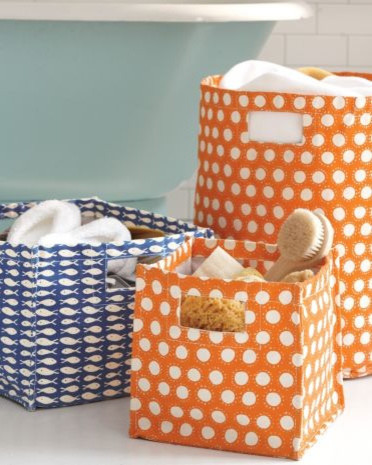 Printed Canvas Storage Bins contemporary-baskets