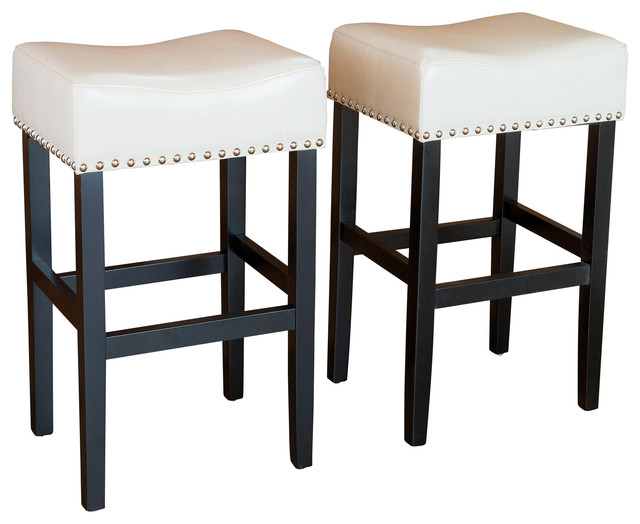Chantal leather stools set of 2 ivory counter height contemporary bar stools and counter - Average height of bar stools ...