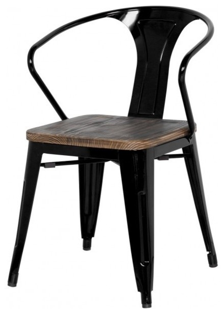 Grand Metal Arm Chair SET OF 4 Black Industrial Dining Chairs By Apt2B